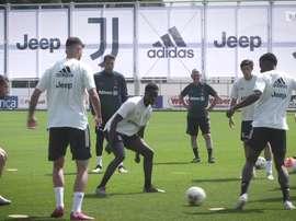 La Juventus continua ad allenarsi. Dugout