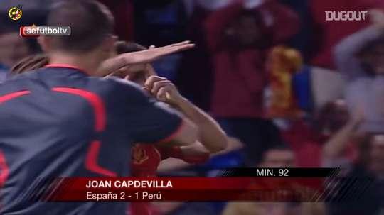 En el 92', Capdevila dio la victoria a España ante Perú en 2008. DUGOUT