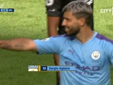 Sergio Aguero scored two in Man City's 4-0 win over Brighton. DUGOUT