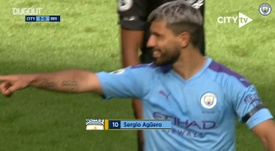 Sergio Aguero scored two in Man City's 4-0 win over Brighton. DUGOUT