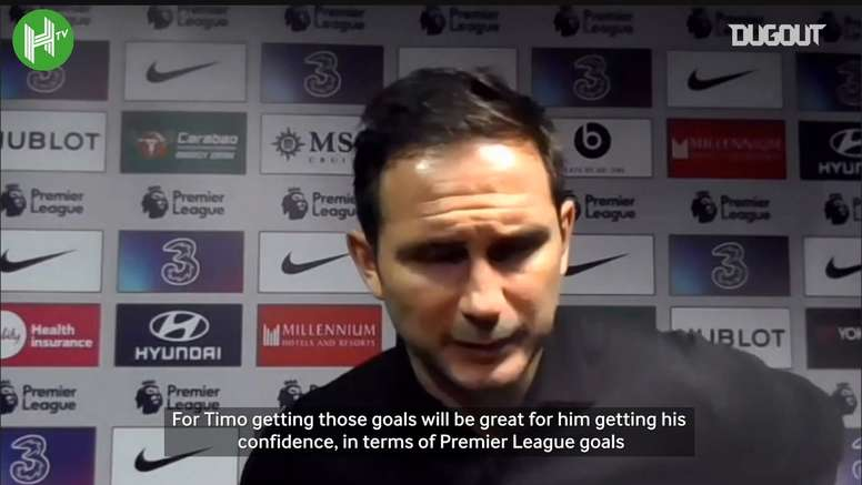 Frank Lampard was very happy with Timo Werner, but not with the result. DUGOUT