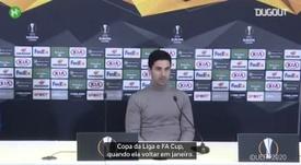 Arteta falou antes do último jogo da Premier League. DUGOUT