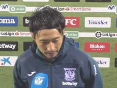 Shibasaki, contento con su primer gol con el Leganés. DUGOUT