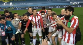 Asier Villalibre was a very happy man during Athletic's trophy celebration. DUGOUT