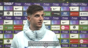 Mason Mount concedeu entrevista após a vitória do Chelsea sobre o Leeds. DUGOUT
