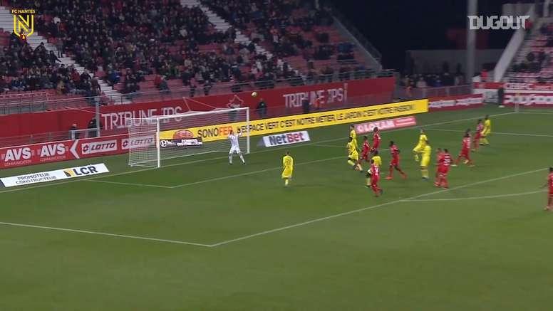Brasileiro do Nantes marcou nos acréscimos contra o Dijon. DUGOUT