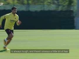 'i am enjoying training with my team mates again'. DUGOUT