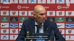 Zidane en conférence après la victoire face à Grenade. DUGOUT