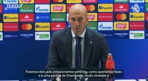 Zidane falou com a imprensa após a partida do Real Madrid contra a Inter de Milão. DUGOUT