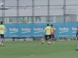 Treino de Messi teve tabelas, golaços, arrancadas e dribles. DUGOUT