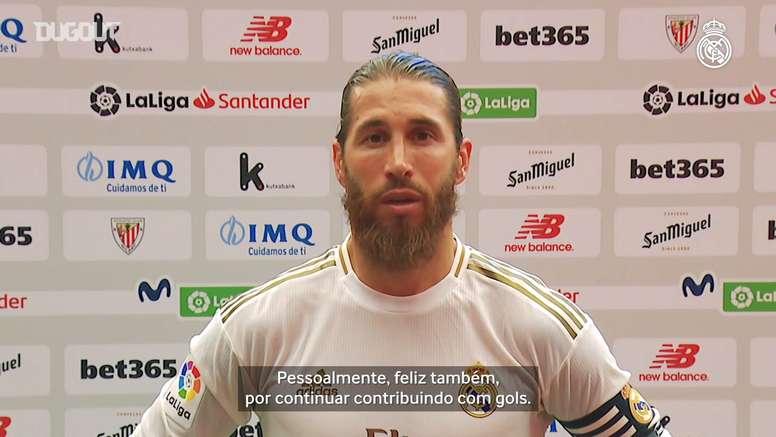 Sergio Ramos vibra com vitória e liderança isolada do Real Madrid. DUGOUT