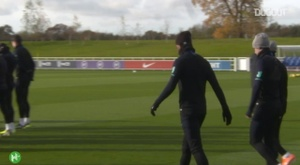 Chilwell training for England. DUGOUT