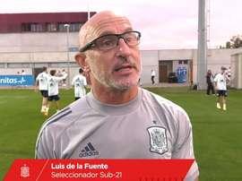 Luis de la Fuente alabó la enorme progresión de los tres futbolistas. Captura/SeFutbol