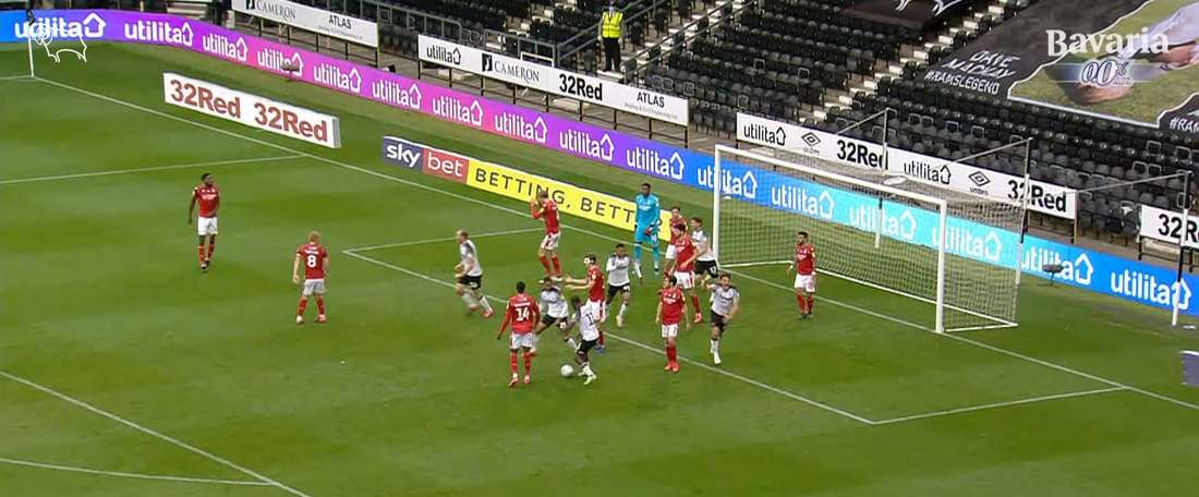 Chris Martin got a point for Derby right at the death versus Nottingham Forest. DUGOUT
