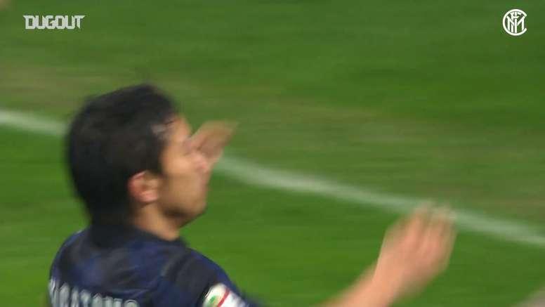 Le but de Yuto Nagatomo contre le Chievo. afp