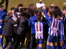 Alcoyano were ecstatic after knocking RM out of the Copa del Rey. DUGOUT