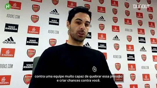Arteta exalta desempenho do Arsenal contra o Leicester. DUGOUT