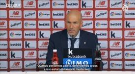 Zinedine Zidane comentou a vitória apertada com gol de pênalti contra o Athletic. DUGOUT