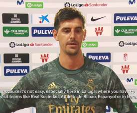 Courtois spoke to the media. DUGOUT