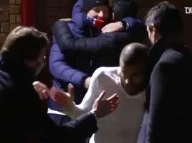 La célébration des parisiens après la victoire face à Manchester United. Dugout