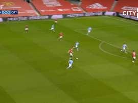 Man City GK Zack Steffen made a great save to stop Bruno Fernandes scoring. DUGOUT