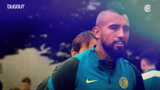 Il primo allenamento di Vidal con l'Inter. Dugout