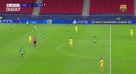 Le but collectif de Martin Braithwaite contre Ferencváros. dugout