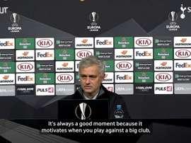 Mourinho speaks ahead of match. DUGOUT