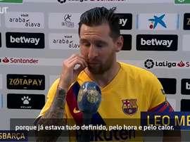 Messi exalta atitude do Barça na goleada sobre o Alavés. DUGOUT