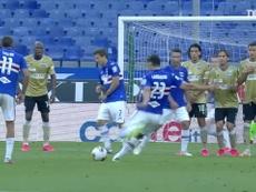Il calcio di punizione di Gabbiadini. Dugout