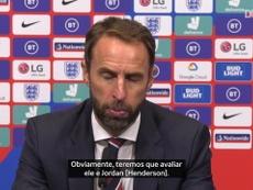 Southgate falou com a imprensa na véspera do jogo contra a Dinamarca pela Liga das Nações. DUGOUT
