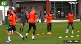 Liverpool train ahead of the Ajax match. DUGOUT