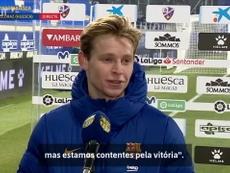 De Jong vibra com vitória do Barça sobre o Huesca. DUGOUT