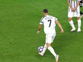 La rete di Ronaldo contro il Lione. Dugout