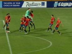 España llegó a la final tras eliminar a Francia del Europeo Sub 19. Captura/Footters