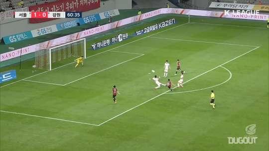 Han Seung-gyu helped Seoul beat Gangwon 2-0 in the K-League. DUGOUT