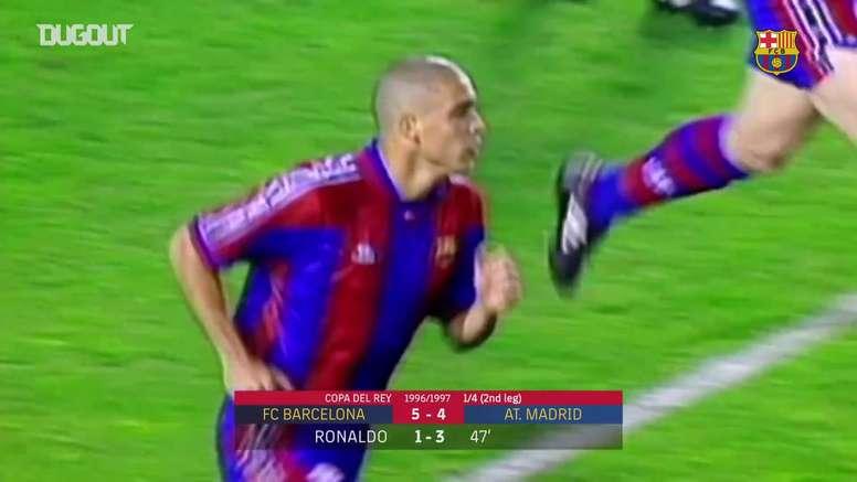 Contra o Atlético de Madrid, Ronaldo fez três gols em jogo da temporada 1996/97.