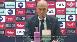 Zinedine Zidane falou com a imprensa após a vitória sobre o Huesca. DUGOUT
