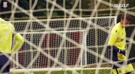Angus Gunn trains with new Stoke team-mates. DUGOUT