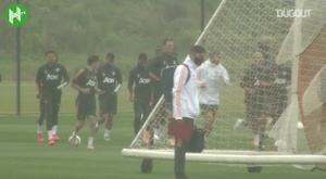 Pogba and Fernandes trained ahead of the match. DUGOUT