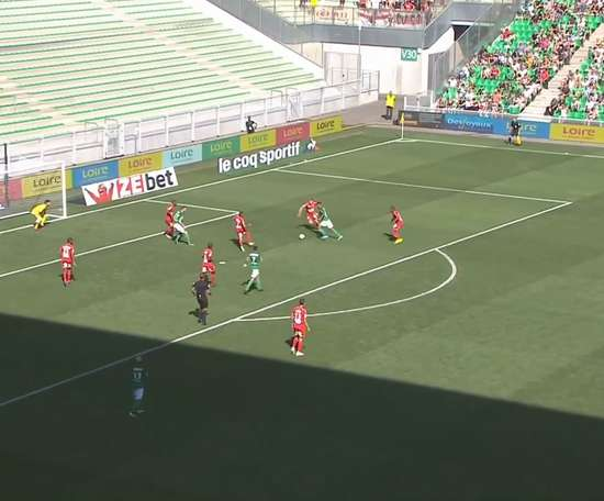 Denis Bouanga got St Etienne a 1-1 draw with Brest in Ligue 1. DUGOUT