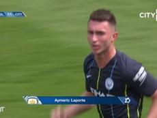 Le premier but de Laporte avec Manchester City. dugout