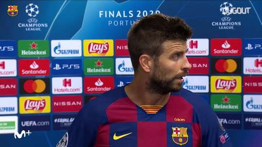 Gerard Pique was far from happy after Barca's 8-2 loss to Bayern. DUGOUT