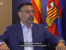 Presidente do Barça fala sobre esperança de conquistar Champions de 2019/20. EFE