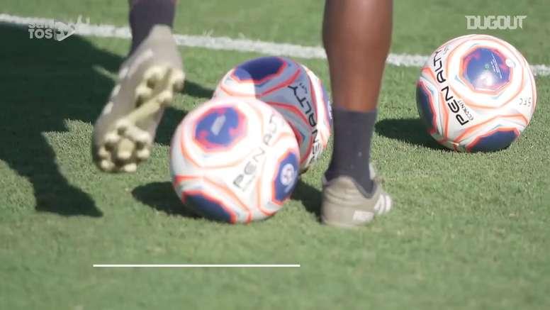 Santos voltou a trabalhar com bola após a quarentena. DUGOUT