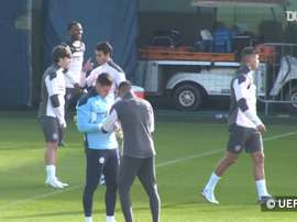 Man City train ahead of the Porto match. DUGOUT