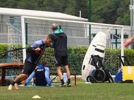 Sampdoria's players did fitness exercises as part of training. DUGOUT