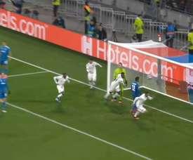 Le but vainqueur de Lucas Tousart face à la Juventus. DUGOUT
