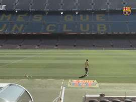 Messi and the rest of the Barca team trained again at the Camp Nou. DUGOUT