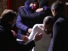 I festeggiamenti del PSG dopo la vittoria. Dugout